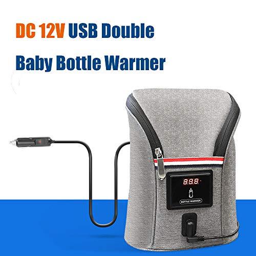Konesky Calienta Biberones, Calefacción USB Más Cálido Doble Biberón de Leche Bolsa de Aislamiento Gran Capacidad Coche al Aire Libre Movible para el Puidado del Bebé