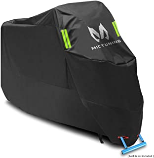 MICTUNING Waterproof Motorcycle Cover XXL 210D Oxford with Lock-Holes Night Reflective Fits up to 104 inches Motors