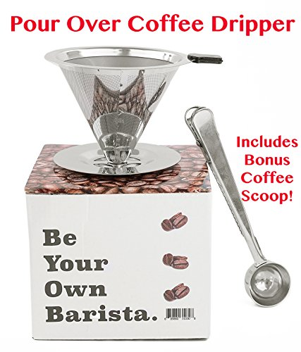 Paperless Pour Over Coffee Dripper & Brewer - Stainless Steel Double Mesh Reusable Cone Filter with Built-in Stand, Rubber Grip Handle & Bonus Coffee Scoop - Single Cup Coffee Maker