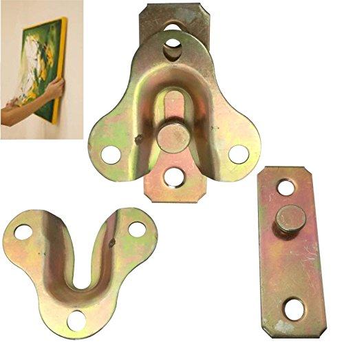 Euro Tische 2X Spiegel Bilderrahmen Halterung Befestigung aus Messing - Ineinandergreifende Aufhänger für Bilder oder Spiegel