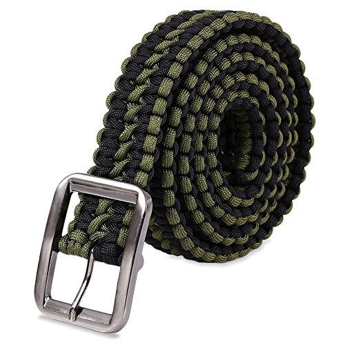 Stylrtop Tactical Waist Belt Survival Woven Belt for Camping, Hunting, Hiking, and Other Outdoor Activities(Can be Unraveled into a 28 Meters Parachute Cord,Pulling Force:550lbs (BLACE and Green)