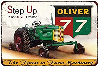 Jesiceny New Tin Sign Oliver 77 Tractor Farm Machinery Vintage Aluminum Metal Sign 8x12 Inches