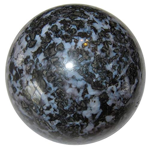 Satin Crystals Gabbro Sphere Crystal Healing Ball Premium Mystic Merlinite Magic Spiritual Awakening Upper Chakra Stone P01 (4.1 Inches)