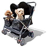 Paws & Pals Double Pet Stroller - 4 Wheels Lightweight Two Puppy, Dog & Cat Strollers - Best for Walking 2 Small/Medium Size Animal, Cats or Dogs - Foldable Pets Twin Carriage - Black