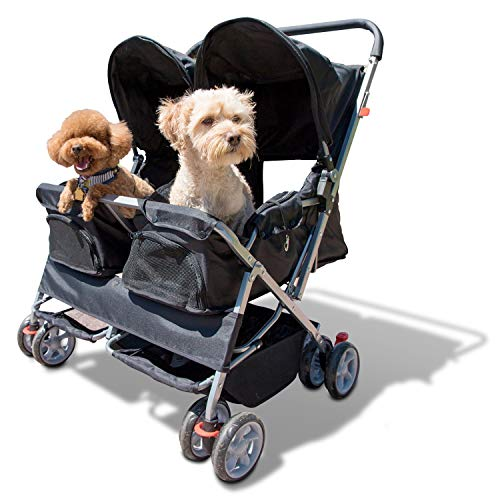 Paws & Pals Double Pet Stroller - 4 Wheels Lightweight Two Puppy, Dog