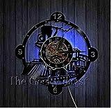 KDBWYC Record Reloj de Pared Locomotora decoración Retro Reloj de Pared Reloj de Vinilo Locomotora Tren Reloj de Pared decoración de Pared Reloj para el hogar -12 Pulgadas