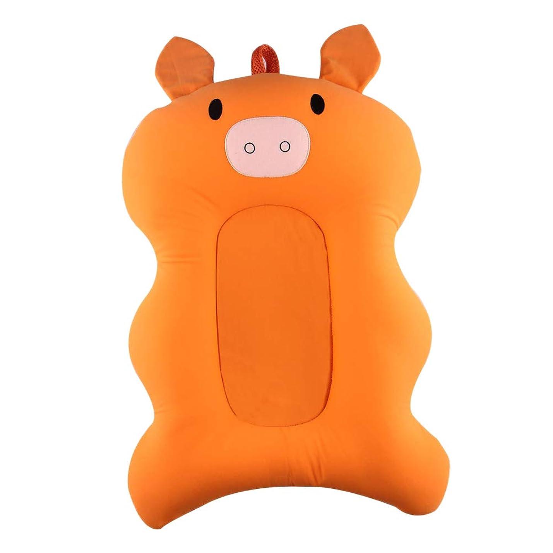 コミュニケーション摂動印象HEALIFTY アンチスリップ安全バスタブマット、ベビーバスマット柔らかい幼児用バススポンジ抗細菌とスキッドプルーフベビーバスマット新生児の臭気のない(オレンジの豚のパターン)