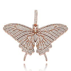 Rose Gold Iced Out Diamond Flat Butterfly Pendant Necklace