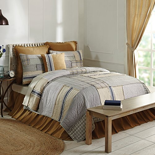 Piper Classics Mill Creek Twin Quilt, 86 x 68, Modern Farmhouse Style Bedding, Country Quilted Patchwork Bedding Grain Sack Stripe, Ticking & Plaid Fabrics, 100% Cotton …