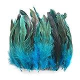 100pcs Hermosas Plumas De Gallo Decoracin Fringe,Decoracin de Bodas, Manualidades,Hogar Bricolaje Artesana 15-20cm (color azul cielo)