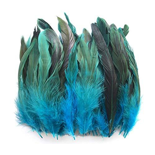 100pcs Hermosas Plumas De Gallo Decoración Fringe,Decoración de Bodas, Manualidades,Hogar Bricolaje Artesanía 15-20cm (color azul cielo)