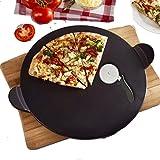 Pizzastein Set, Schwarz,Schamott Brotbackstein Pizza Stein Set für Backofen und Grill Rund 33 x 1,1 cm, Schamottstein, mit Pizzaschneider. Auch für Den Griller Geeignet, Schamott