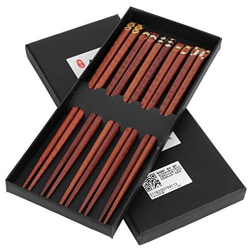 Palillos de madera 5 pares de palillos de madera natural Protección del medio ambiente Palillos tallados a mano Juego de regalo