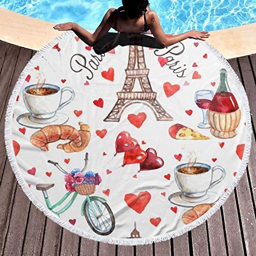 Love Paris Tower Café Vino Perfume Bicicletas Corazón Impreso Toalla de Playa Yoga Picnic Mat Mantel Redondo Ultra Suave Super Absorbente Agua Toalla Terry Con Borlas