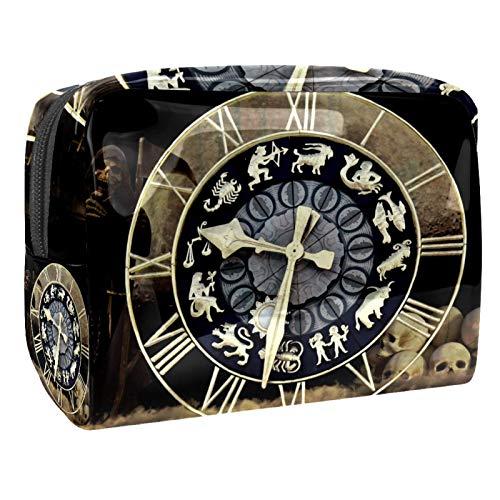 Reloj Time Fate Bolsa de maquillaje Organizador de cosméticos Multifuncition Viaje Impermeable Neceser con Cremallera para Mujer
