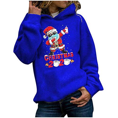 Sudadera de Navidad para mujer, sudadera informal de manga larga, jersey de Navidad, para adolescentes, niñas, camisetas de Navidad, blusa, jersey, jersey de moda, diseño de reno, A76., XXL