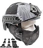 ZCP Tactical Airsoft Fast Helmet PJ Type Y Metal Mesh Guard Protect Ear TYP, Adecuado para Equipos de Protección de Paintball CS Juego Decoración de Halloween
