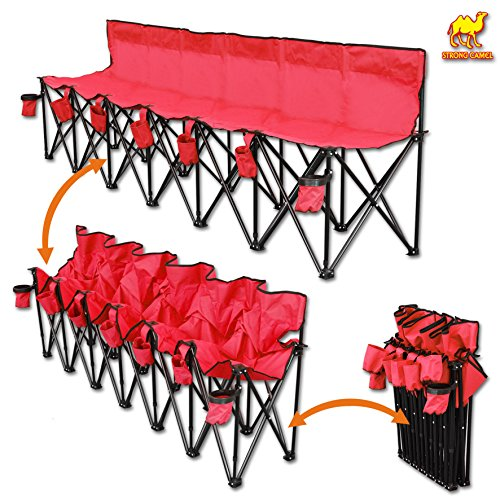 Strong Camel Portable 6 Seater Sports Bench Outdoor Soccer Team Bench with Carry Bag (Red)