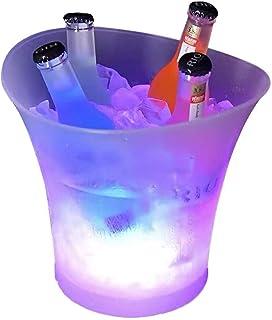 Tiandirenhe 5L Seau à glace coloré à LED avec changement automatique de couleur pour champagne vin boissons bière glace ba...