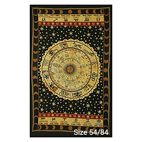 RRC Indian Zodiac Posters Wall Hanging Horoscope Tapestry Dorm Room Tapestries Hippie Tapestry Indian Astrology Trippy Celtic Psychedelic Tapestry Wall Hanging Space Rashi Tapestry (Beige, 54' x 84')