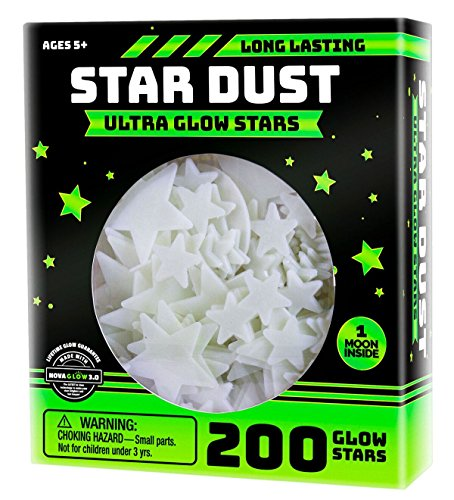 Ultra Brighter Glow in the Dark Stars; Special Deal 200 Count w/ Bonus Moon, Amazing for Children...
