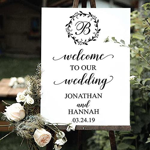 Cartel de bienvenida de boda calcomanía nombre personalizado fecha espejo decoración pegatina...