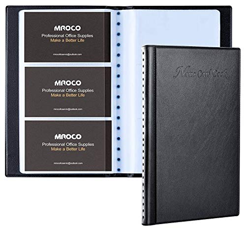 MROCO Business Card Organizer Book Business Card Holder Book, Pu Leather Business Credit Card Holder Book for Men, Name Card Holder Book Slim Wallet Card Holder for Men, Capacity: 300 Cards, Black
