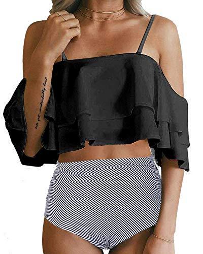 Tempt Me Women Two Piece Swimsuit High Waist Ruffle Bikini Set Black Striped XXL