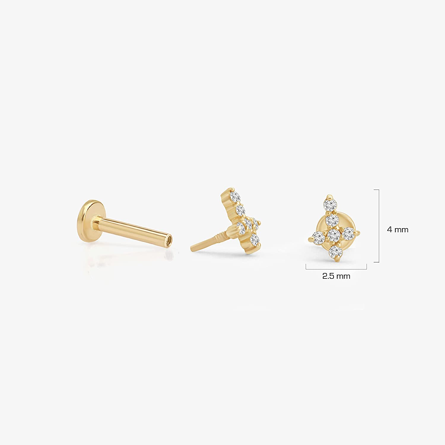 Estella Collection Natural Diamond Cross Cartilage Stud Earrings 14K Solid Rose Gold   Conch Helix Tragus Piercings Earring Threaded(0.04 Carat T.W, G-H Color, SI1-SI2 Clarity) Jewelry For Men Women