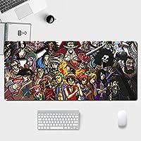 アニメワンピースゲーミングマウスパッド耐久性のあるステッチエッジ滑り止めラバーベース,キーボードマットデスクマットデスクカバーコンピューターキーボードPCラップトップ-アニメ-A_300*800*3MM