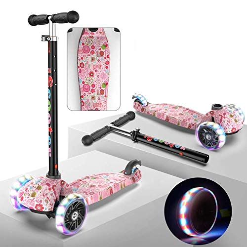 Ygqtbc Tretroller for Kinder mit 3 LED-Licht-Up Räder Einstellbare Höhe Extra Wide Deck Scooter Lean Heckfender...