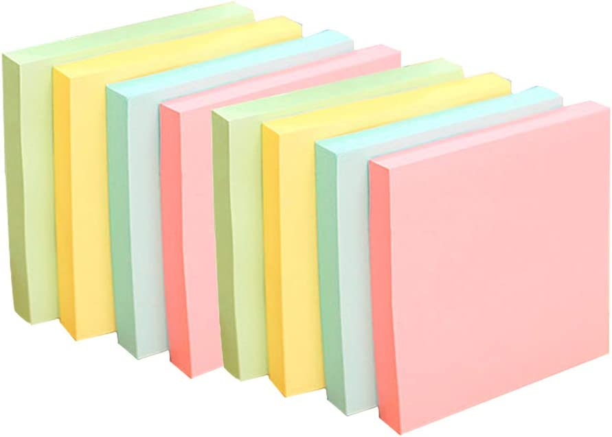 Yellow, Green, Blue, Pink 8 Pads of 100 Sheets School and Memos Neon Notes Self-Stick Notes for Desk 4 Pastel Colors Office