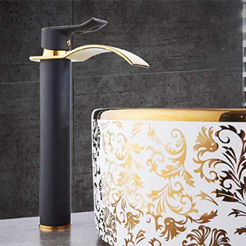 Grifo de cascada de oro rosa grifo de baño de latón grifo de lavabo frío y caliente negro y dorado 8,O2QHICWMGWWVU