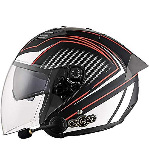MRDAER Casco de Moto Bluetooth 3/4 Casco de Moto Moto Ciclomotor Aprobado por el Dot Casco de Moto de Carreras de Bicicleta de Calle con Visera Solar Bluetooth Space, jóvenes Hombres y Mujeres