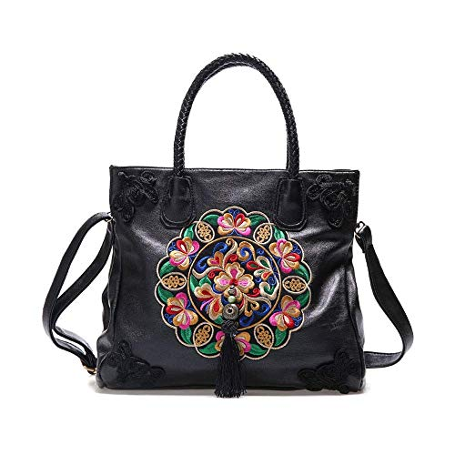 MUBAY Crossbody Bags Shoulder Bag for Women Women's bag,PU leather embroidered handbag retro ethnic style one-shoulder crossbody embroidery soft large capacity mother handbag