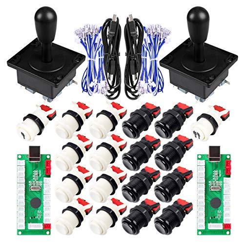 EG STARTS Classic Happ Style Arcade DIY Parts Kit para 2 jugadores USB Mame Project Juegos y Raspberry pi 2 3 3B Blanco y Negro Color