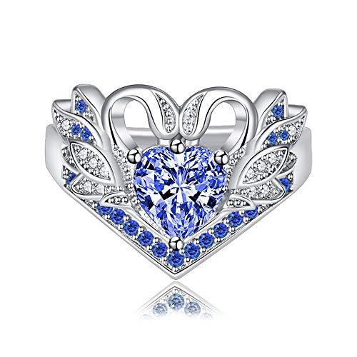 LYLLXL Offene Ringe Für Damen,Vintage Einstellbare Öffnen Silver Swan Herzmodellierung Inlay Blue Crystal White Zircon Weihnachten Geschenk Schmuck Für Hochzeit Party Frauen Männer Paare