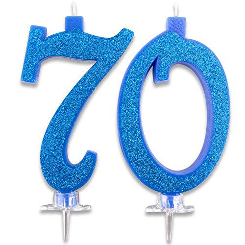 Candeline Maxi 70 Anni per Torta Festa Compleanno 70° | DecorazioniParticolari Candelina Auguri Nonni e Genitori | Idee Festa a Tema Importanti | Candele Altezza 13 CM Blu Glitter