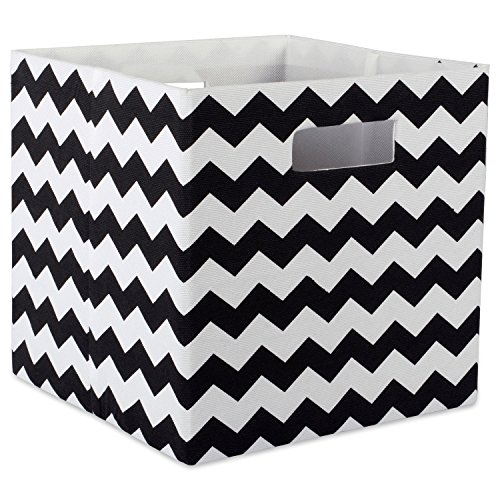 DII Hard Sided Collapsible Fabric Storage Container for Nursery, Offices, & Home Organization, (11x11x11) - Chevron Black