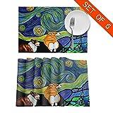 NE Corgi Starry Starry Night Placemats Set de 6 para Mesa de Comedor Mantel Lavable Manteles Antideslizantes Alfombrillas de Cocina fáciles de Limpiar (Juego de 6)
