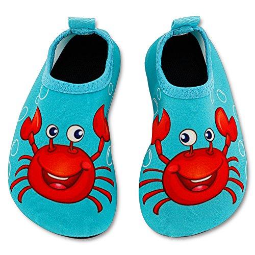Bigib Toddler Kids Swim Water Shoes Quick Dry Non-Slip Water Skin Barefoot Sports Shoes Aqua Socks for Boys Girls Toddler, Crab, 10 Toddler