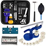 Watch Repair Tool Kit Professional - Watch Tools Including Watch Press Kit, Larger Rubber Dust Blowers, Spring Bars, Watch Battery Replacement Tool Kit,Watch Band Link Pins with Carrying Case (406pcs)