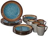 Pfaltzgraff 5239319 Monroe Blue 16-Piece Dinnerware Set, Assorted