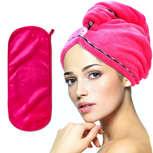 Elegant Pink Microfiber Hair Towel for Curly Hair - Hair Drying Towels with Bonus Makeup Remover - Hair Turbans for Wet Hair - Quick Dry Hair Towel - Hair Towel Wraps for Women & Curly Hair Towel