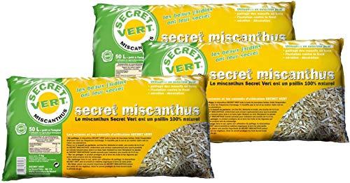 Secret Vert Paillis de miscanthus 5kg Lot de 3