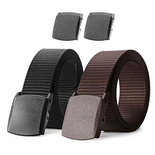 Nylon Military Tactical Men Belt 2 Pack Webbing Canvas Outdoor Web Belt with Plastic Buckle,Fits Pant up to 45 Inch, Black&Coffee