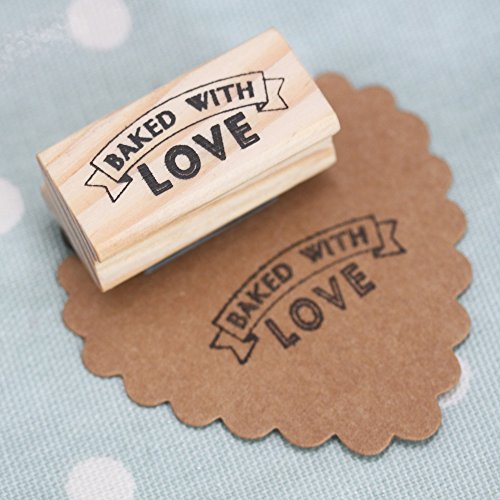 East of India Rubber Stamp - BAKED WITH LOVE