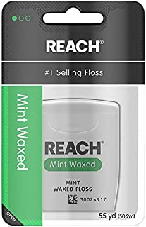 Reach Waxed Dental Floss for Plaque and Food Removal, Refreshing Mint Flavor, 55 Yards, Pack of 6