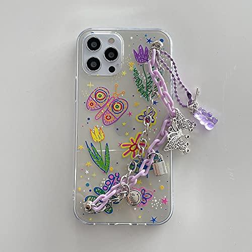 LIUYAWEI Estuche con Cadena de muñeca para iPhone 12 Pro MAX XR X 7 8 Plus Estuches Transparentes con Flores de Graffiti Lindo Estuche Colgante con Cadena para iPhon 11 SE, A, para iPhone 11