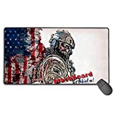 Custom Gaming Mouse Pad with Stitched Edges, Water-Resistant Magic Mouse Mats Optimized for Accurate Control 15.7 X 29.5 in,Rainbow Six Siege Castle Blackbeard Get Behind Me! USA Flag